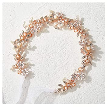 For Children Rose Quartz Beads Wrapped with Deep Pink Wire on a Pink Satin Headband