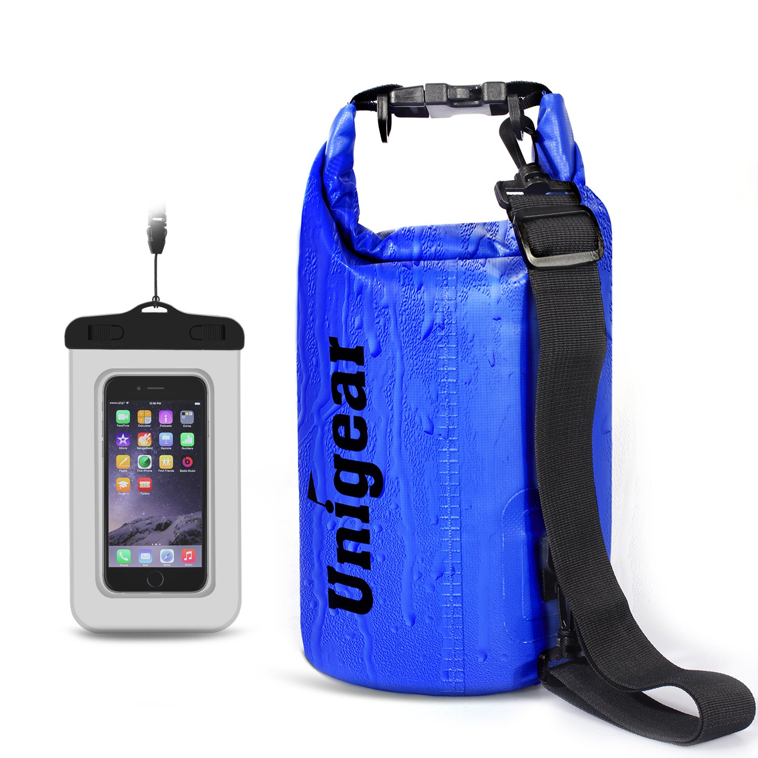 Unigear Floating Waterproof Dry Bag 600D 2L 5L 10L 20L 30L 40L Floating Dry Gear Bags for Boating Kayaking Fishing Swimming and Camping with Waterproof Phone Case