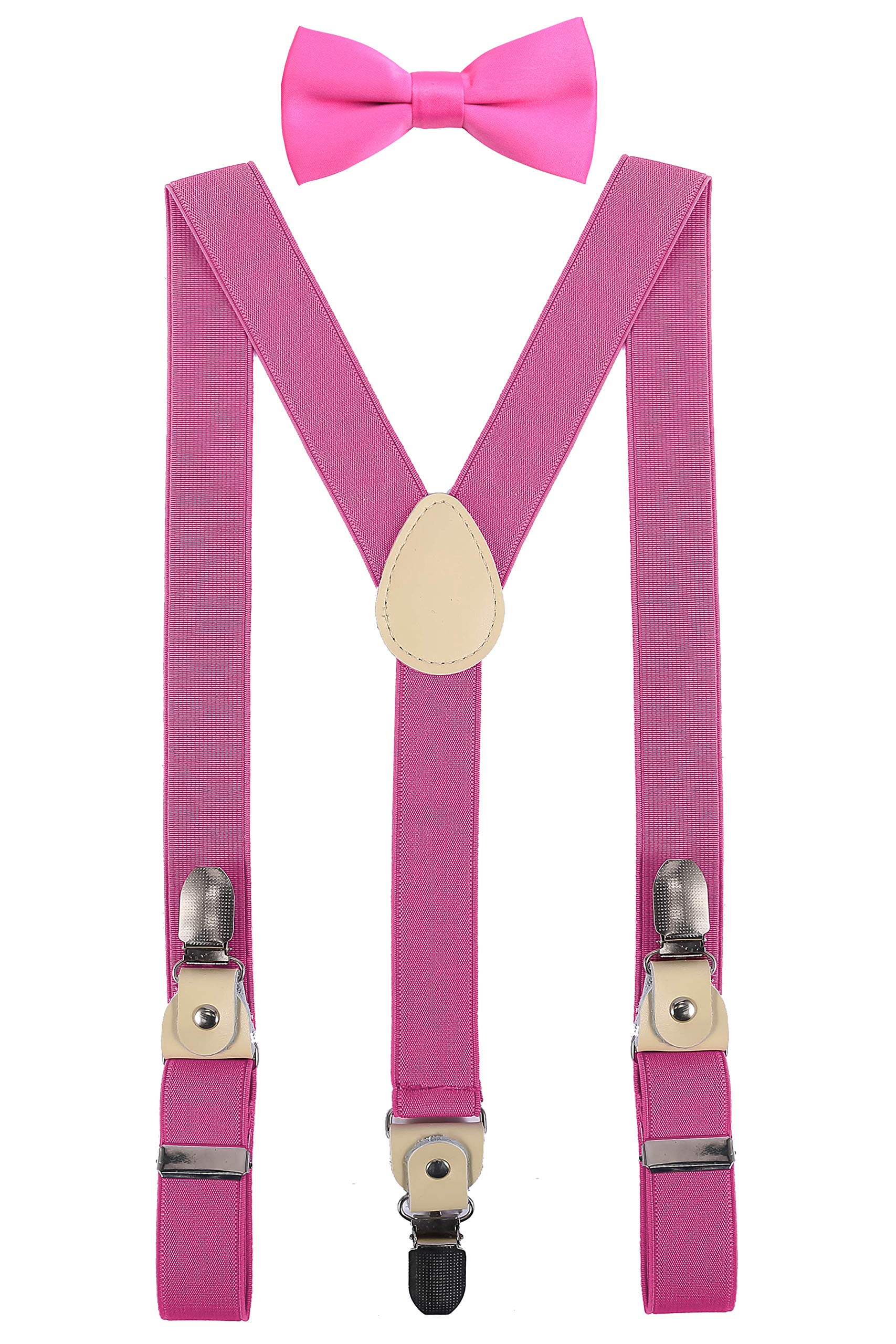 YJDS Kids Leather Suspenders and Bowtie Set Strong Clips Hot Pink 39''