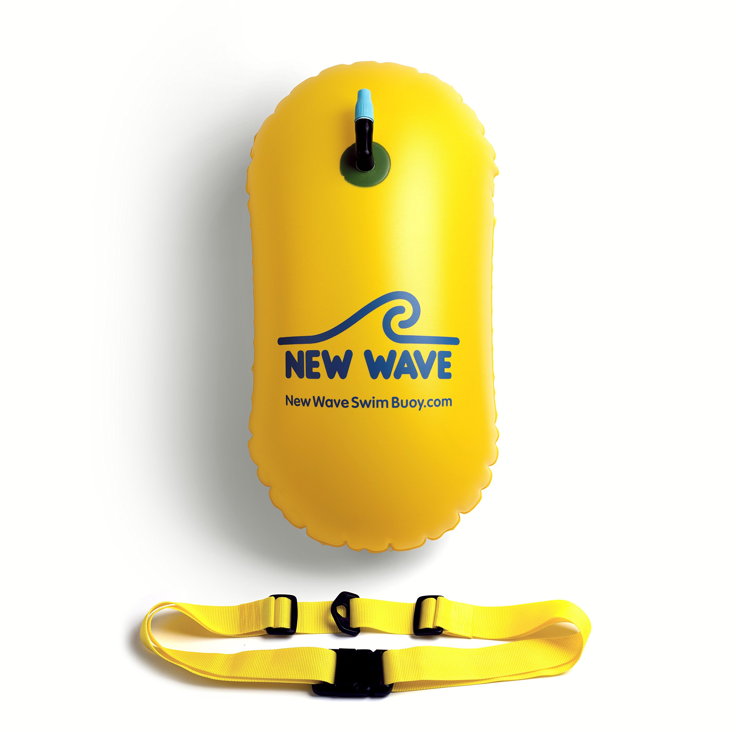 New Wave Swim Bubble for Open Water Swimmers and Triathletes - Be Bright, Be Seen & Be Safer with New Wave While Swimming Outdoors with This Safety Swim Buoy Tow Float (Yellow) by New Wave Swim Buoy