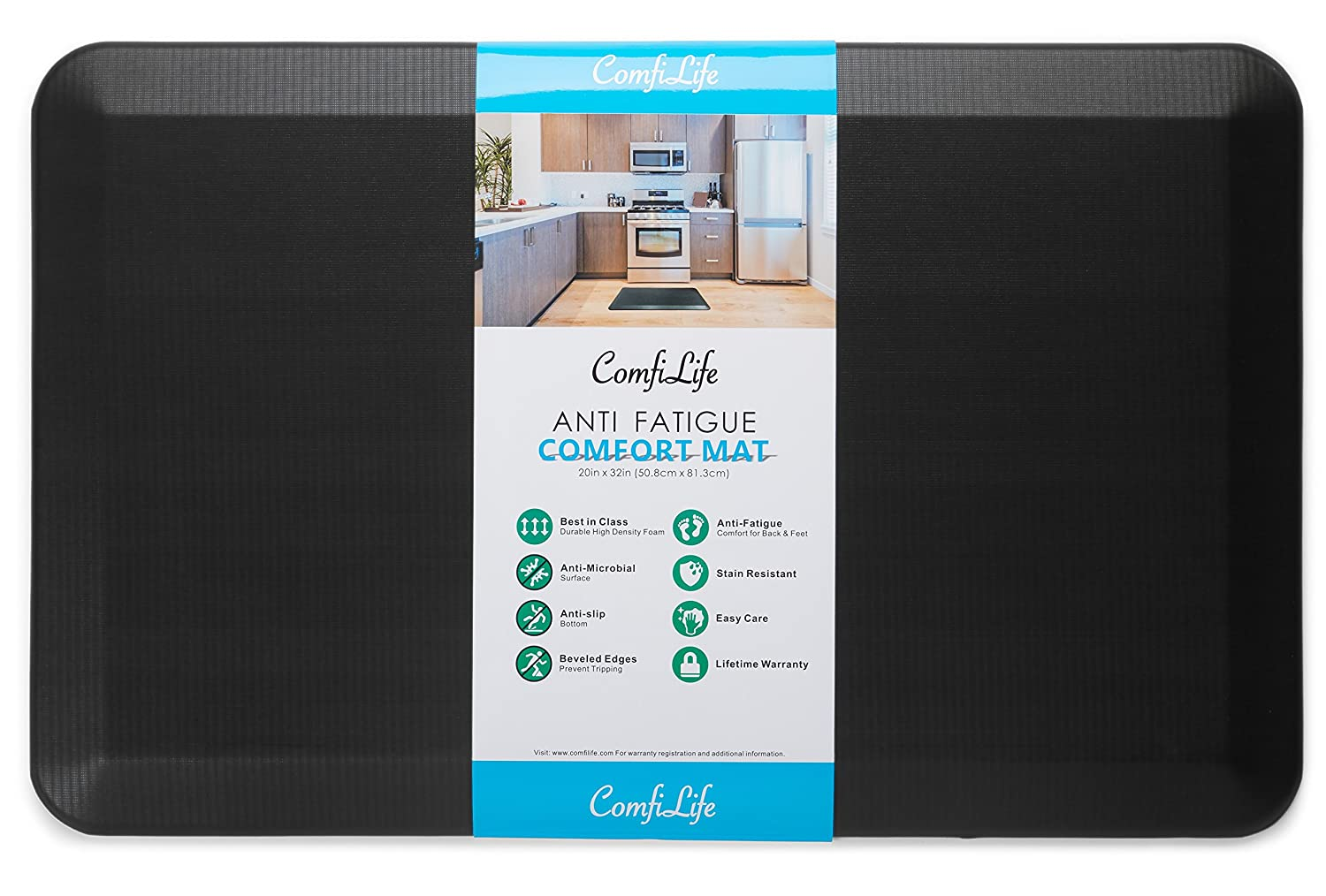 "ComfiLife Anti Fatigue Floor Mat – Perfect Kitchen Mat, Standing Desk Mat – Comfort at Home, Office, Garage – Durable – Stain Resistant – Non-Slip Bottom – Black, 20""x32"""