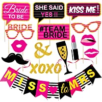 WOBBOX Bachelorette Party Photo Booth Props and Party Banner - (Pink and Glitter Printed)
