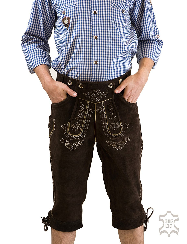 Herren Trachten Oktoberfest Lederhose Kniebund Lederhose franzl, inkl. H-Träger, altbraun, von Waller Trachtenmoden, Kostenfreie Rücksendung Gr. 44-62