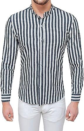 Evoga - Camisa de Lino para Hombre, Color Blanco y Negro, Slim Fit con Cuello Coreano: Amazon.es: Ropa y accesorios