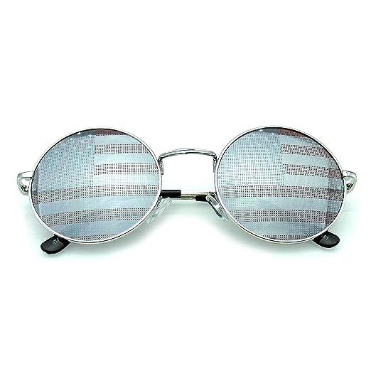 018dcfe88cc Emblem Eyewear - John Lennon Sunglasses Round Shades Gold Frame Mirror  Lenses Retro (American Flag