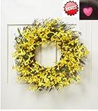 """Spring Floral Front Door Forsythia Flower Wreath 22"""""""