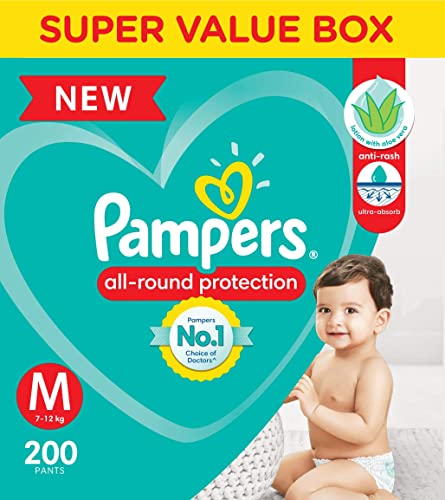 [Apply coupon] Pampers All round Protection Pants, Medium size baby diapers (MD), 200 Count, Anti Rash diapers, Lotion with Aloe Vera