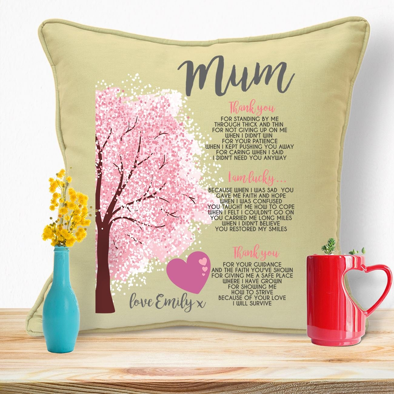 Personalised Gifts For Mummy Mums Moms Grandma Nana Nanny Mother In Law Mothers Day Birthday Christmas Anniversary From Daughter Son Newborn Baby Kids Children Long Distance Ideas Family Tree Cushion