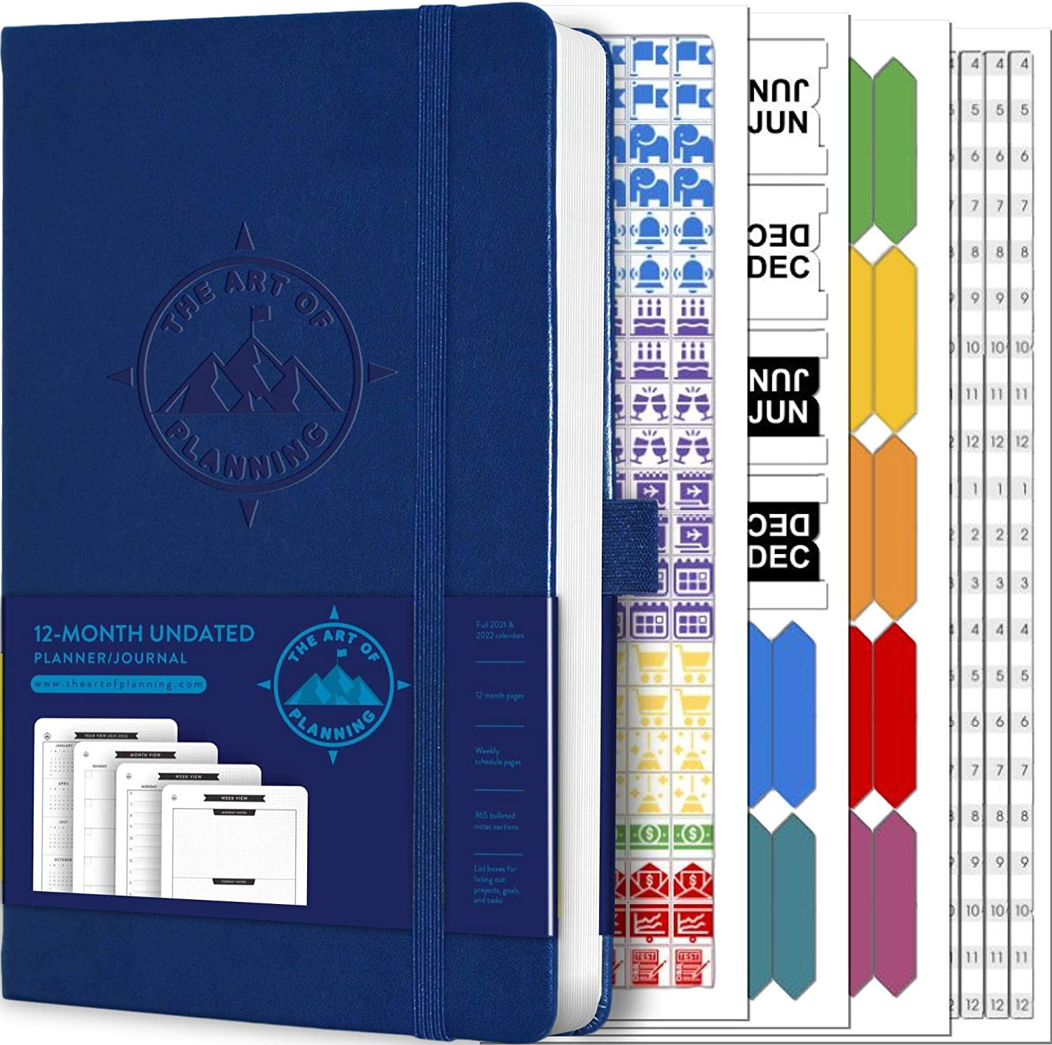 """Undated 12-Month Planner, Weekly Appointment Book, and 2021-2022 Calendar by The Art of Planning   Small 5""""x8"""" Hardcover   Dotted Notes   3 Bookmarks   Inner Pocket   Stickers"""