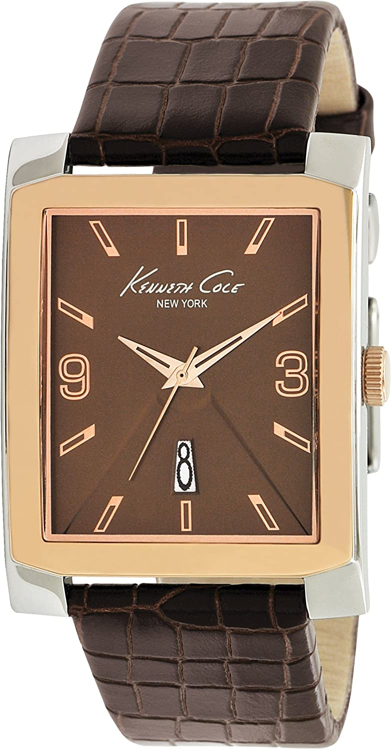 Kenneth Cole New York Men s Japanese Quartz Stainless Steel Case Leather Strap Brown, Model KC1783