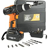VonHaus 18V Lithium-Ion Cordless Drill Driver wtih Battery | Fast Charge, Built in Spirit Level & LED Light with 13 Accessories Drill Bits + Carry Case