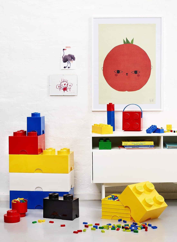 LEGO Ladrillo de Almacenamiento Redondo de 1 Espiga 950 ml Caja de almacenaje apilable One Size Gris