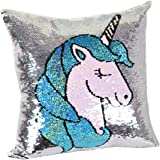 leegleri Unicorn Magic Reversible Sequins Pillow Case, Sequin Throw Pillow Covers Decorative Cushion Cover Pillowcase Couch Sofa Bed Magic Unicorn Gift(1 Pack,Only Pillow Case)