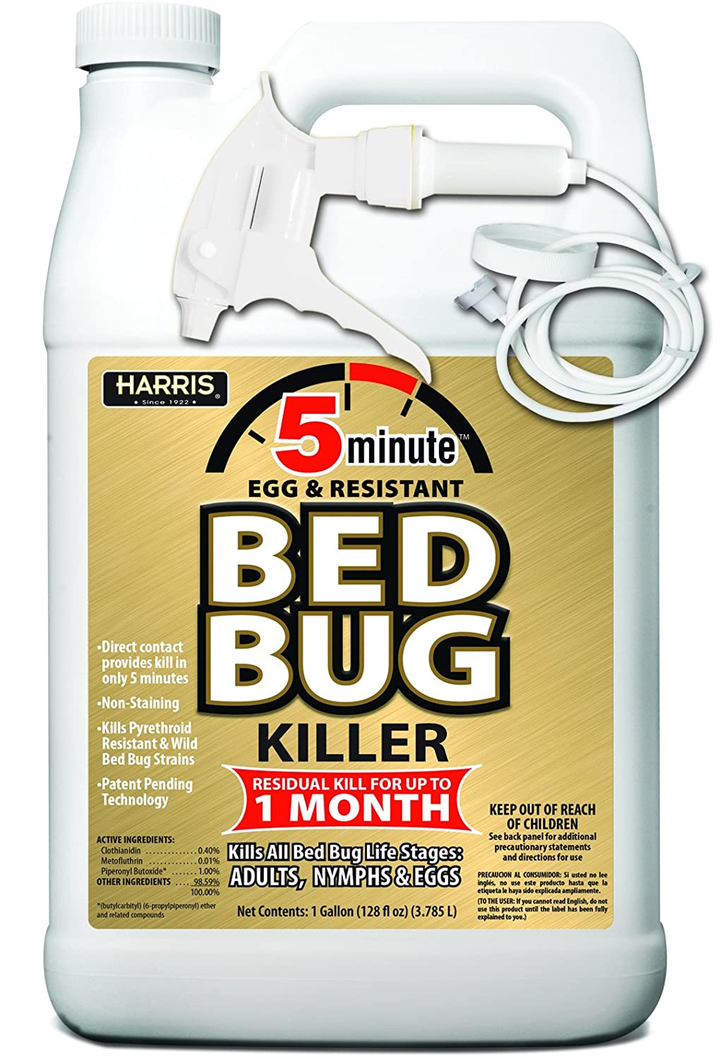 Harris 5 Minute Bed Bug Killer Odorless And Non Staining Formula 128oz