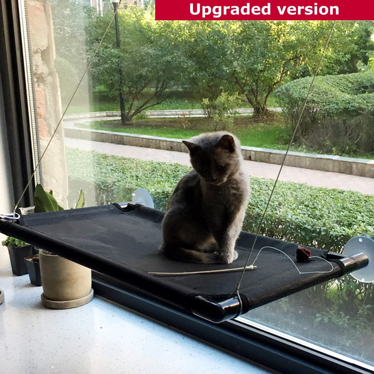 GRE1BEE Cat Window Perch Hammock Seat Cat Bed Kitty Cot Sunny Furniture Cats Perches Two Sill Mounted Animal Pets Kitten Beds Upgraded Version 4 Big Suction Cups Holds up 60lb by GRE1BEE (Image #7)