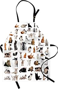 Lunarable Cat Lover Apron, Group of Cats and Kitten Lying Down Meowing Purebred Norwegian Siamese, Unisex Kitchen Bib with Adjustable Neck for Cooking Gardening, Adult Size, Marigold White