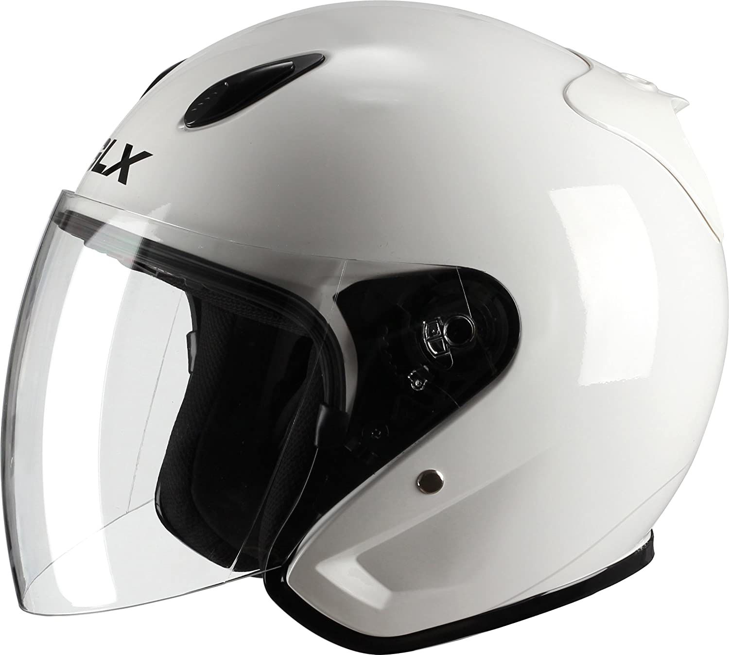GLX Moped Scooter Cruiser Open Face Motorcycle Helmet Gloss White