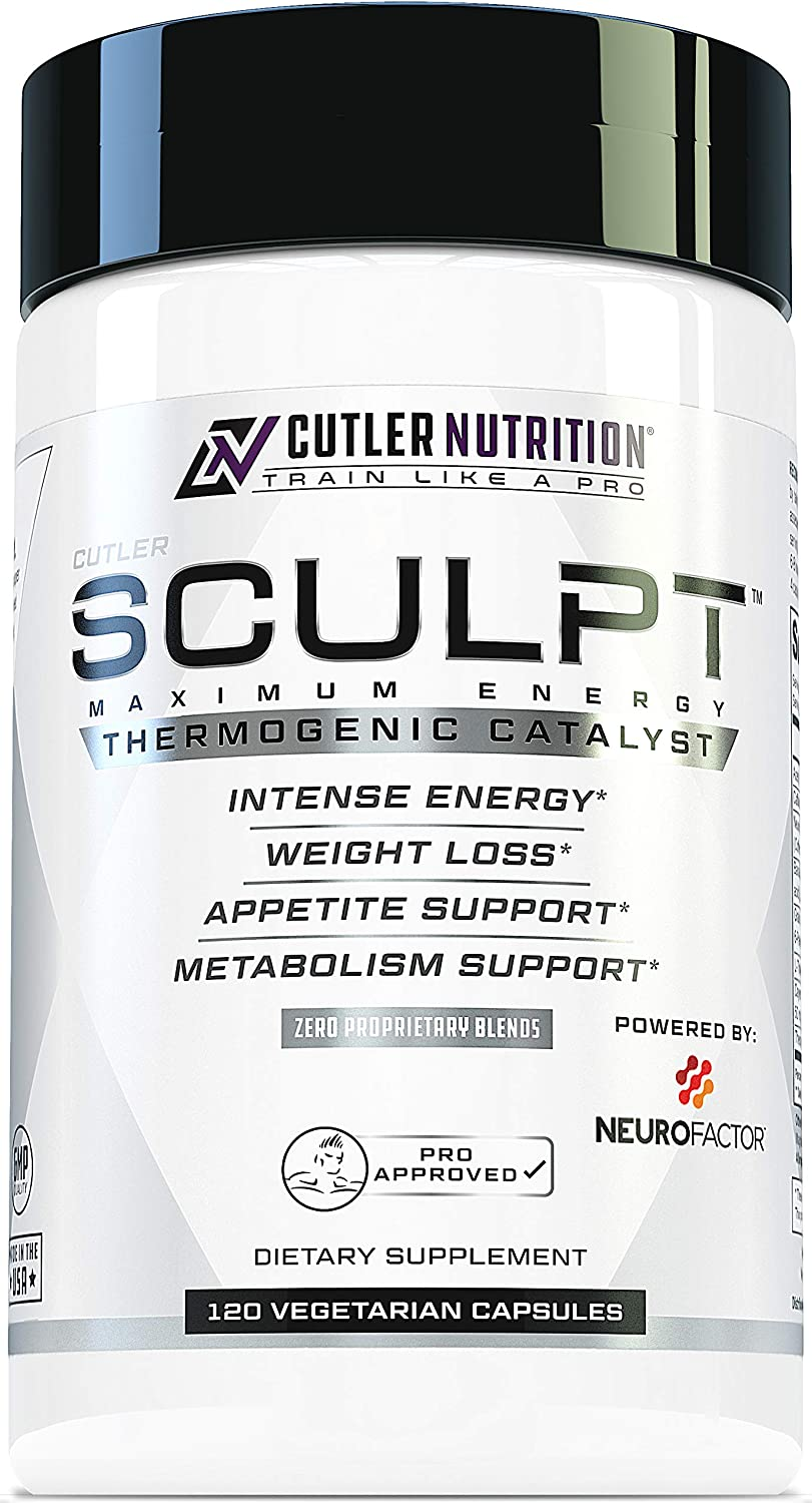 SCULPT Fat Burner Diet Pills Best Weight Loss Energy Pills and Maximum Strength Thermogenic Metabolism Booster for Fast Weight Loss with Acetyl L Carnitine and Grains of Paradise, 120 Veggie Capsules
