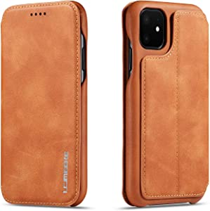 QLTYPRI iPhone 11 Pro Max Case Vintage Slim PU Leather Case with Credit Card Holder Kickstand Feature Classic Design ShockProxof Pro Maxtective Durable Wallet Case for iPhone 11 Pro Max - Brown