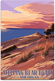 product image for Lantern Press Sleeping Bear Dunes, Michigan, Dunes Sunset and Bear (12x18 Aluminum Wall Sign, Wall Decor Ready to Hang)
