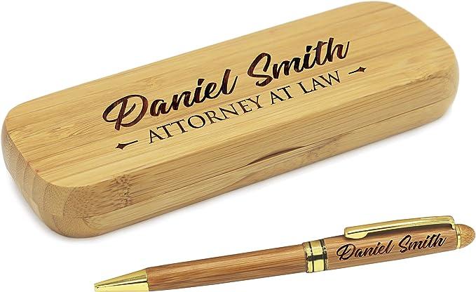 Bolígrafo con estuche personalizado, juego de bolígrafos de madera para abogados, médicos, profesores, graduados, estudiantes: Amazon.es: Juguetes y juegos