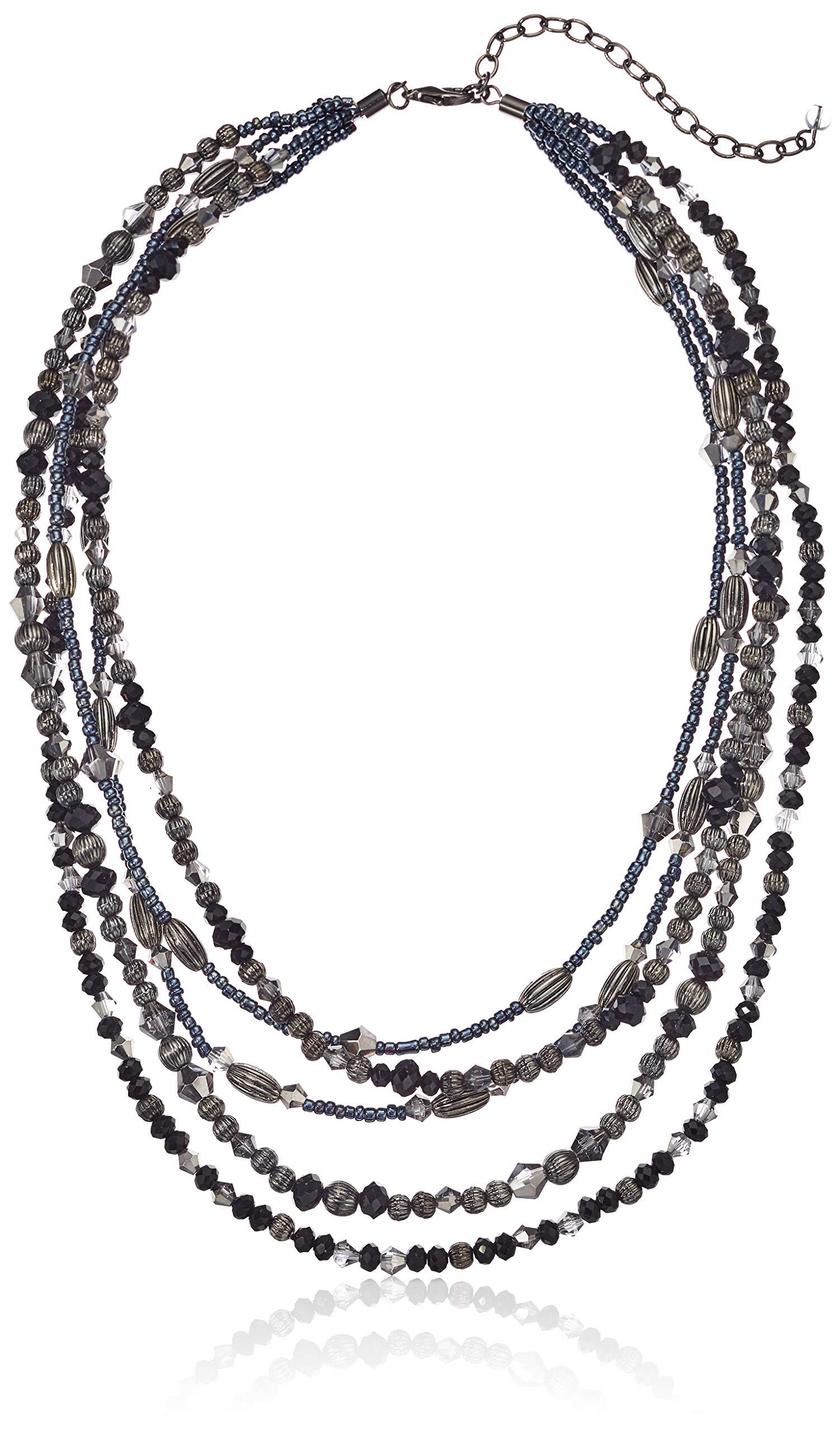 Napier Multi Beaded Multirow Necklace, Hematite Jet