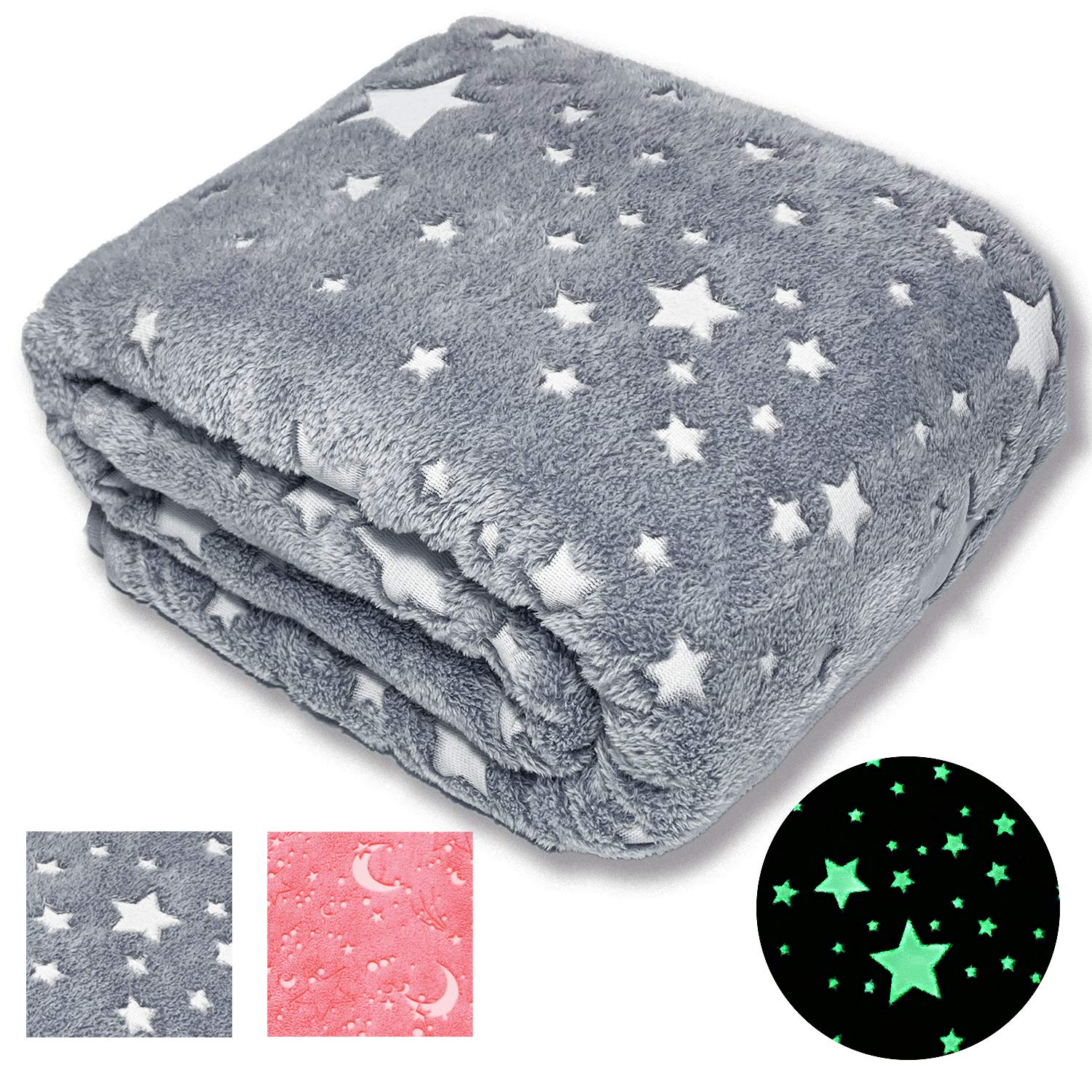 Forestar Glow in The Dark Throw Blanket | Top Birthday Gift for Kids Boys Girls Toddlers | Premium Super Soft Fuzzy Fluffy Plush Furry Throw Blanket (50'' x 70'' Gray)