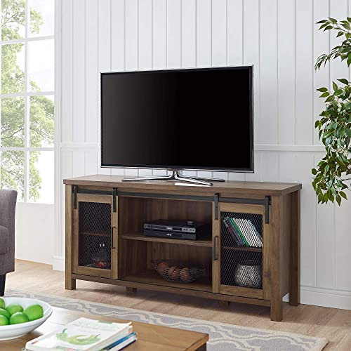 WE Furniture Farmhouse Metal Mesh Barndoor and Wood Universal Fireplace Stand or TV s up to 55 Flat Screen Living Room Storage Entertainment Center, 58 Inch, Dark Walnut