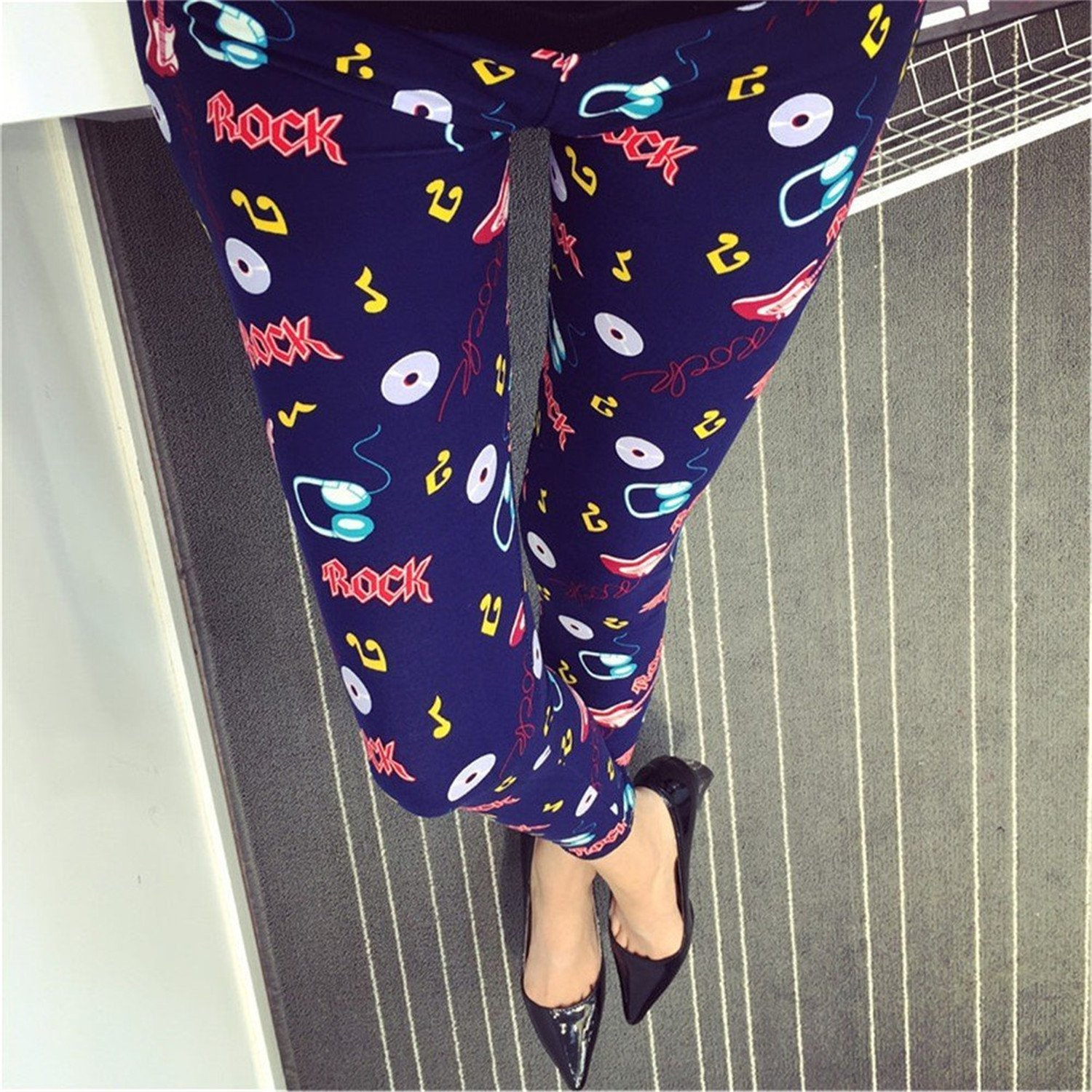 Womens Vintage Printed Tights Stretch Slim Footless Legging Pants Plus Style-BFree size at Amazon Womens Clothing store: