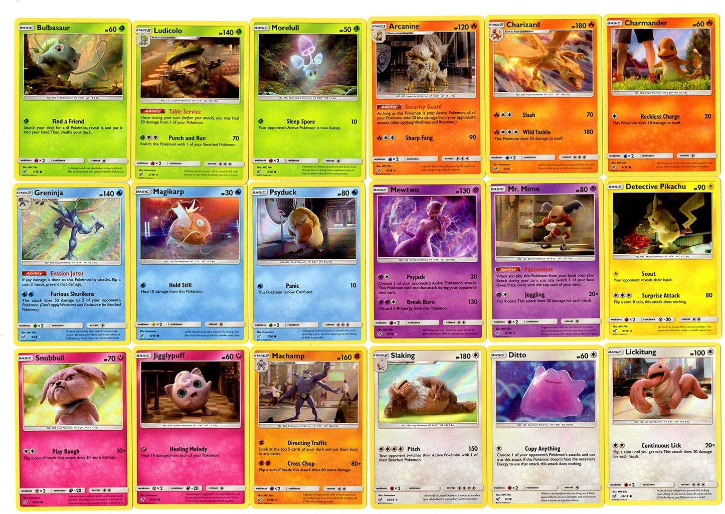 Pokemon TCG Trading Card Game Detective Pikachu Full 18 Card Set//Collection