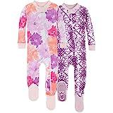 Burt's Bees Baby Baby Girls Pajamas, Zip Front Non-Slip Footed Sleeper Pjs, 100% Organic Cotton