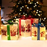 Rocinha Christmas Lighted Gift Boxes Decorations with Cute Images(Santa Claus Reindeer Snowman), Red Green and Blue Bow…