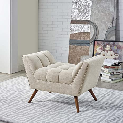 Modway EEI-1791-BEI Response Mid-Century Modern Ottoman Upholstered Fabric, Small Bench, Beige