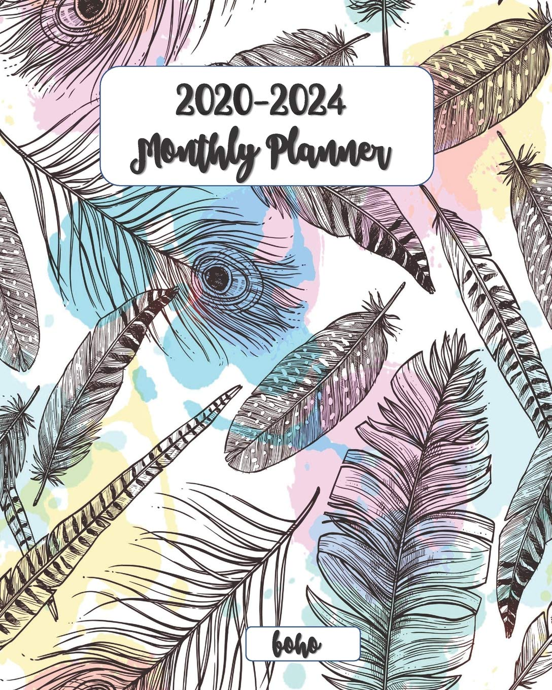 2020-2024 Boho Monthly Planner 8x10: Five Year Monthly ...