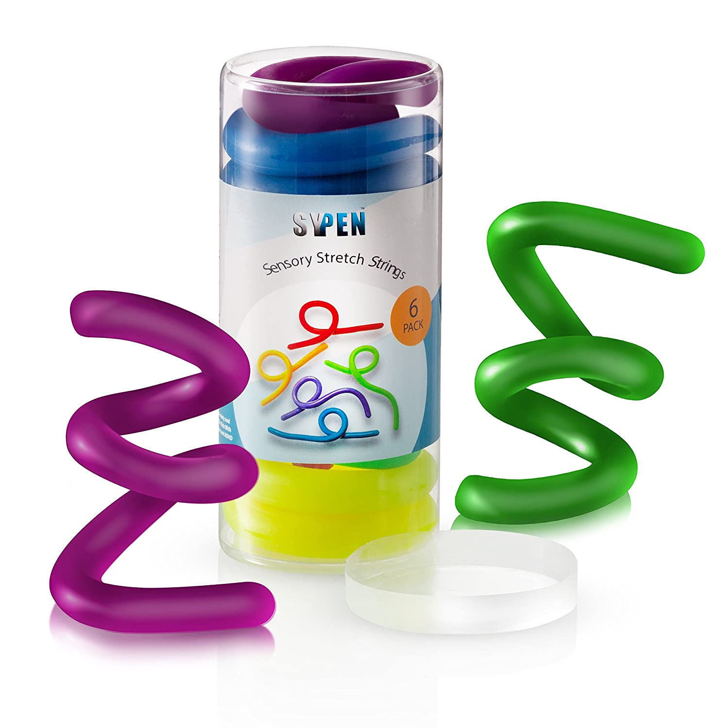 SyPen Sensory Stretchy String Fidget Toys Stretchable and Flexible from 10 Inches to 8' Anxiety and Stress Relief for Kids with Special Needs Autism and ADHD BPA Phthalate Latex Free 6 Pack