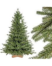 FairyTrees Albero di Natale Artificiale Pino, Verde Naturale, Materiale PVC, Vere pigne, VASTISSIMA Scelta*