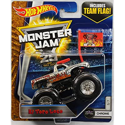 "Hot Wheels Monster Jam El Toro Loco 25th Anniversary Chrome Monster Truck 2020 Release ""IN STOCK"": Toys & Games"