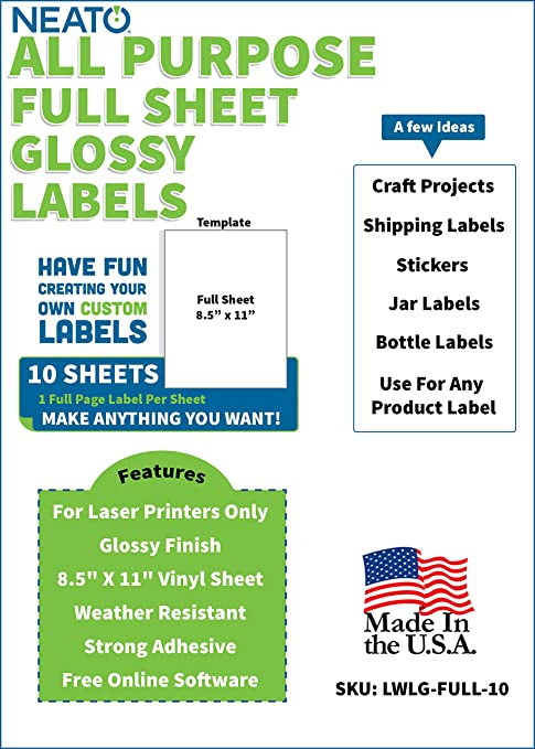 Amazon.com: Neato - Etiquetas impresas en blanco para ...