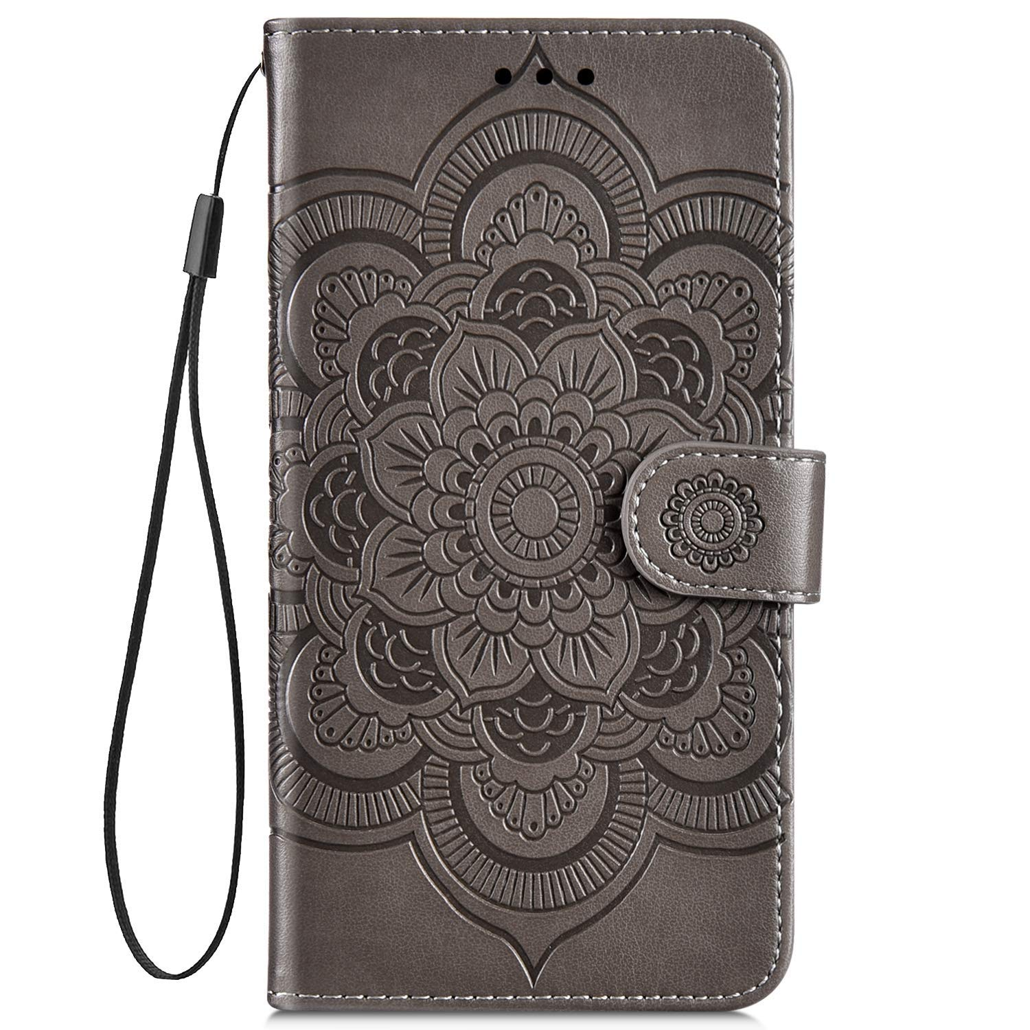 IKASEFU Compatible with iPhone 7 Plus//8 Plus Case Emboss Sun mandala Floral Pu Leather Wallet Strap Case Card Slots Shockproof Magnetic Stand Feature Folio Flip Book Cover Protective Case,Brown