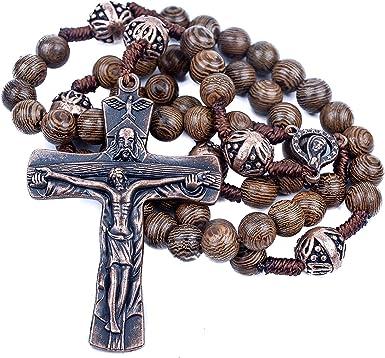 Black Wooden Catholic Rosary Cross Necklace Prayer 9mm Beads Jesus Wood Crucifix