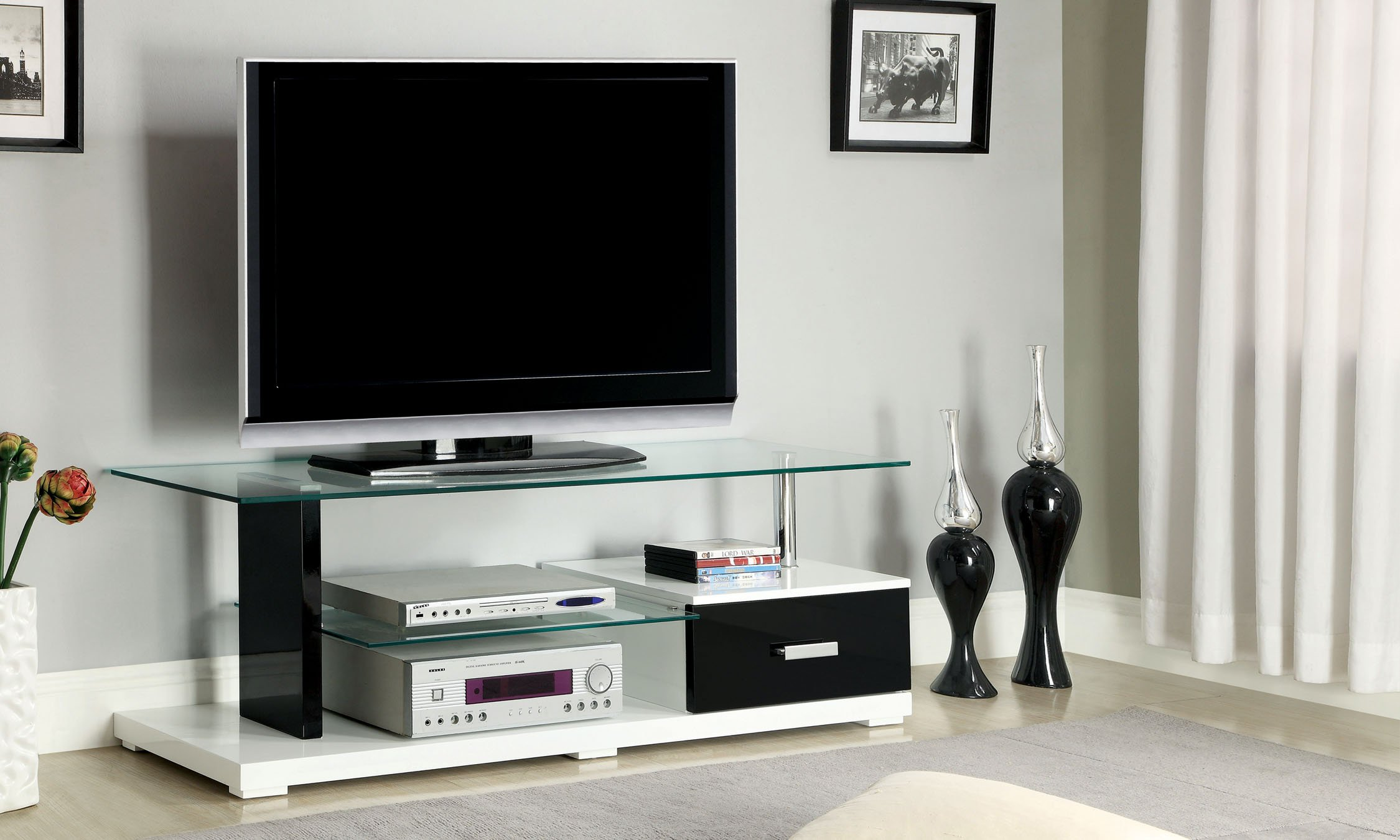 Furniture of America Rave Contemporary TV Console with Storage Drawer, 55-Inch, Glossy Black and White