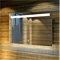 Bathroom Vanity Mirror, LED Illuminated Touch Switch, Anti-Fog Wall Mounted Modern Led Mirror, 1000x700mm, Works Well with Different Styles of Decor