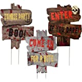 Joyjoz Halloween Outdoor Decorations Yard Signs with Stakes, Warning Yard Sign Stakes for Halloween Decorations Outdoor Lawn