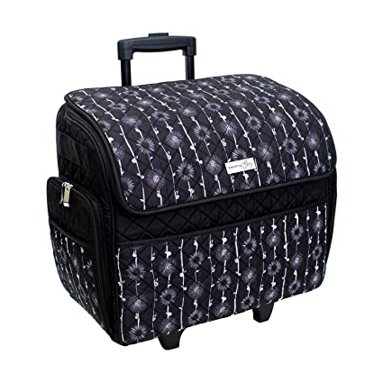 Amazon Deluxe Quilted Black Floral Rolling Sewing Machine Fascinating Sewing Machine Case