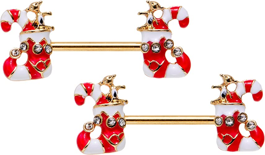 santa stocking candy cane xmas Belly Bar Navel Button ring w//real jingle bells