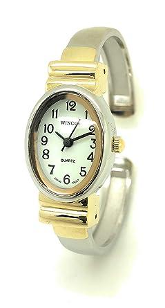 Amazon.com: Ladies funda ovalado pequeño Metal pulsera reloj ...