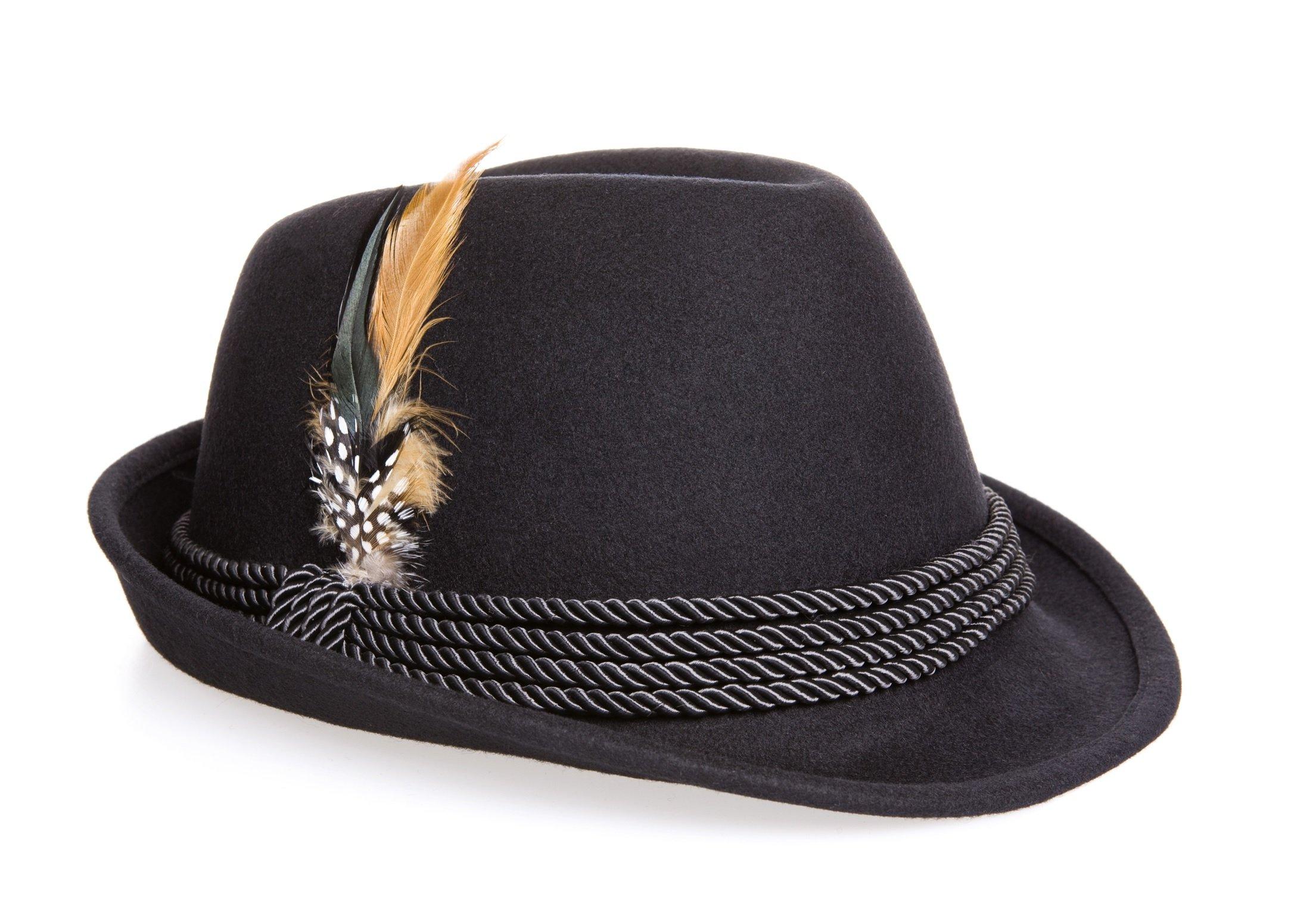 Holiday Oktoberfest Wool Bavarian Alpine Hat - Black Color, Large