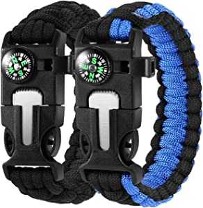 DAYFULI Paracord Survival Bracelet (2 Pack) The Ultimate Tactical Survival Gear - Fire Starter - Loud Whistle - Compass & Scraper Perfect for Hiking, Camping, Fishing and Hunting - Black & Blue
