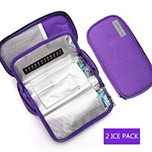 Dainayw Insulin Cooler Travel Case,Temperature Display, Waterproof, Medical Diabetic Organize Medication Insulated Cooling Bag with 2 Ice Packs (Purple)