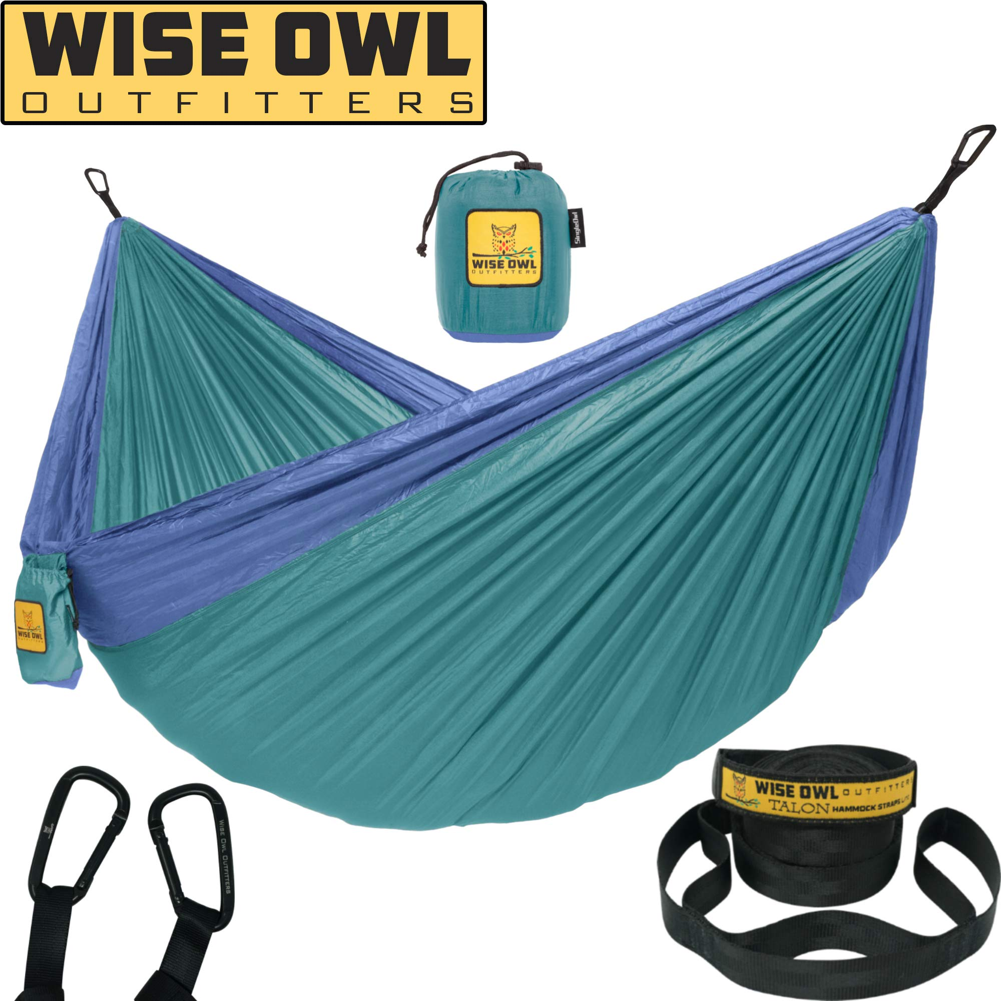 Wise Owl Outfitters Hammock Camping Double & Single with Tree Straps - USA Based Hammocks Brand Gear, Indoor Outdoor Backpacking Survival & Travel, Portable SO Gn/Blu